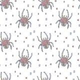 在白色背景的蓝色和桃红色马赛克蜘蛛 库存例证