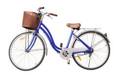 在白色背景的蓝色夫人自行车孤立 库存图片