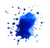 在白色背景的蓝色斑点污点 图库摄影
