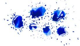 在白色背景的蓝色斑点污点 免版税库存图片