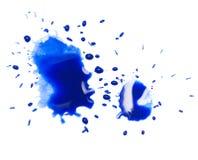在白色背景的蓝色斑点污点 库存照片
