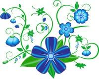 在白色背景的蓝色花传染媒介 库存图片