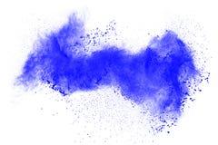 在白色背景的蓝色颜色粉末飞溅云彩 免版税库存图片