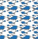 在白色背景的蓝色鱼样式 库存例证