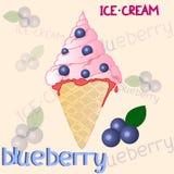 在白色背景的蓝莓冰淇凌 库存图片