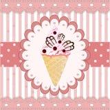 在白色背景的蔓越桔冰淇凌 库存照片