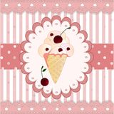 在白色背景的蔓越桔冰淇凌 免版税库存图片