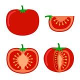 在白色背景的蕃茄平的样式例证 蕃茄切片,成份 免版税库存图片