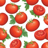 在白色背景的蕃茄 菜商店无缝的样式 免版税库存照片