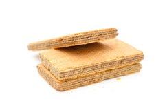 在白色背景的薄酥饼块 免版税库存照片