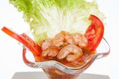 在白色背景的虾仁开胃品 图库摄影