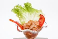 在白色背景的虾仁开胃品 免版税库存图片