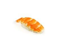 在白色背景的虾寿司 库存照片