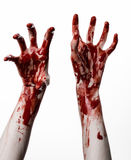 在白色背景的血淋淋的手,蛇神,邪魔,疯子,被隔绝 库存照片