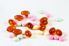 在白色背景的被分类的药物 免版税库存照片