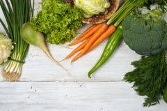 在白色背景的被分类的菜 图库摄影