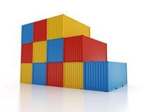 在白色背景的被堆积的运输货柜 库存图片