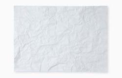 在白色背景的被弄皱的白皮书 库存图片