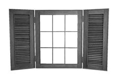 在白色背景的被打开的木窗口,与拷贝温泉 免版税图库摄影