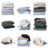 在白色背景的被折叠的毛线衣样式 免版税库存图片