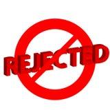 在白色背景的被拒绝的标志 免版税库存图片