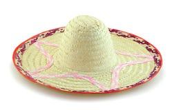 在白色背景的被编织的竹帽子 库存照片
