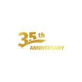 在白色背景的被隔绝的抽象金黄第35个周年商标 35个数字略写法 三十五年周年纪念 库存照片