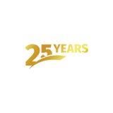 在白色背景的被隔绝的抽象金黄第25个周年商标 25个数字略写法 二十五年周年纪念 免版税库存图片