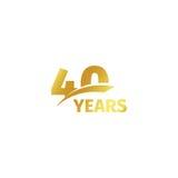 在白色背景的被隔绝的抽象金黄第40个周年商标 40个数字略写法 四十年周年纪念庆祝 向量例证