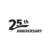 在白色背景的被隔绝的抽象黑色第25个周年商标 25个数字略写法 二十五年周年纪念 免版税库存照片