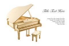 在白色背景的被隔绝的木大平台钢琴模型 免版税库存图片