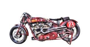 在白色背景的被隔绝的葡萄酒1923印地安人摩托车 免版税库存图片