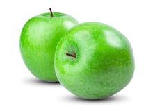 在白色背景的被隔绝的绿色苹果 新鲜 免版税库存照片