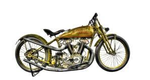 在白色背景的被隔绝的WW2哈利戴维森摩托车 库存照片