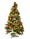 在白色背景的装饰的圣诞树 免版税库存照片
