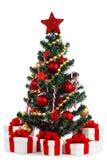 在白色背景的装饰的圣诞树 库存照片
