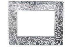 在白色背景的装饰空的照片框架 库存图片