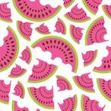 在白色背景的西瓜无缝的样式设计织品的给背景穿衣 库存图片