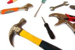 在白色背景的许多工具 免版税图库摄影
