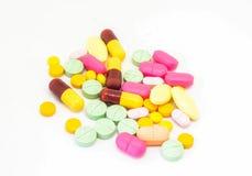 在白色背景的许多药物 免版税库存图片