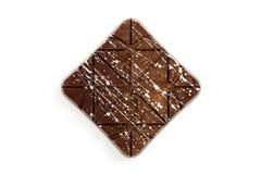 在白色背景的豪华手工制造巧克力块 免版税库存照片