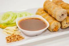 在白色背景的越南烹调 免版税库存照片