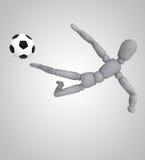 在白色背景的足球运动员戏剧 库存图片