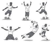在白色背景的足球运动员黑色 免版税图库摄影