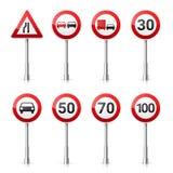 在白色背景的路标汇集 公路交通控制 车道用法 中止和出产量 交通管理标志 免版税库存照片