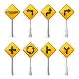 在白色背景的路标汇集 公路交通控制 车道用法 中止和出产量 交通管理标志 图库摄影