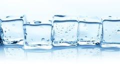 在白色背景的透明冰块小组用水下降 库存图片