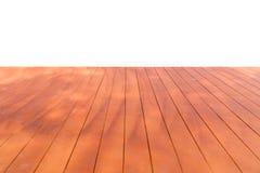 在白色背景的透视木地板橙色棕色孤立 库存照片