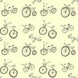 在白色背景的逗人喜爱的乱画自行车 向量例证
