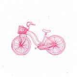 在白色背景的逗人喜爱的桃红色自行车 参见版本 库存照片